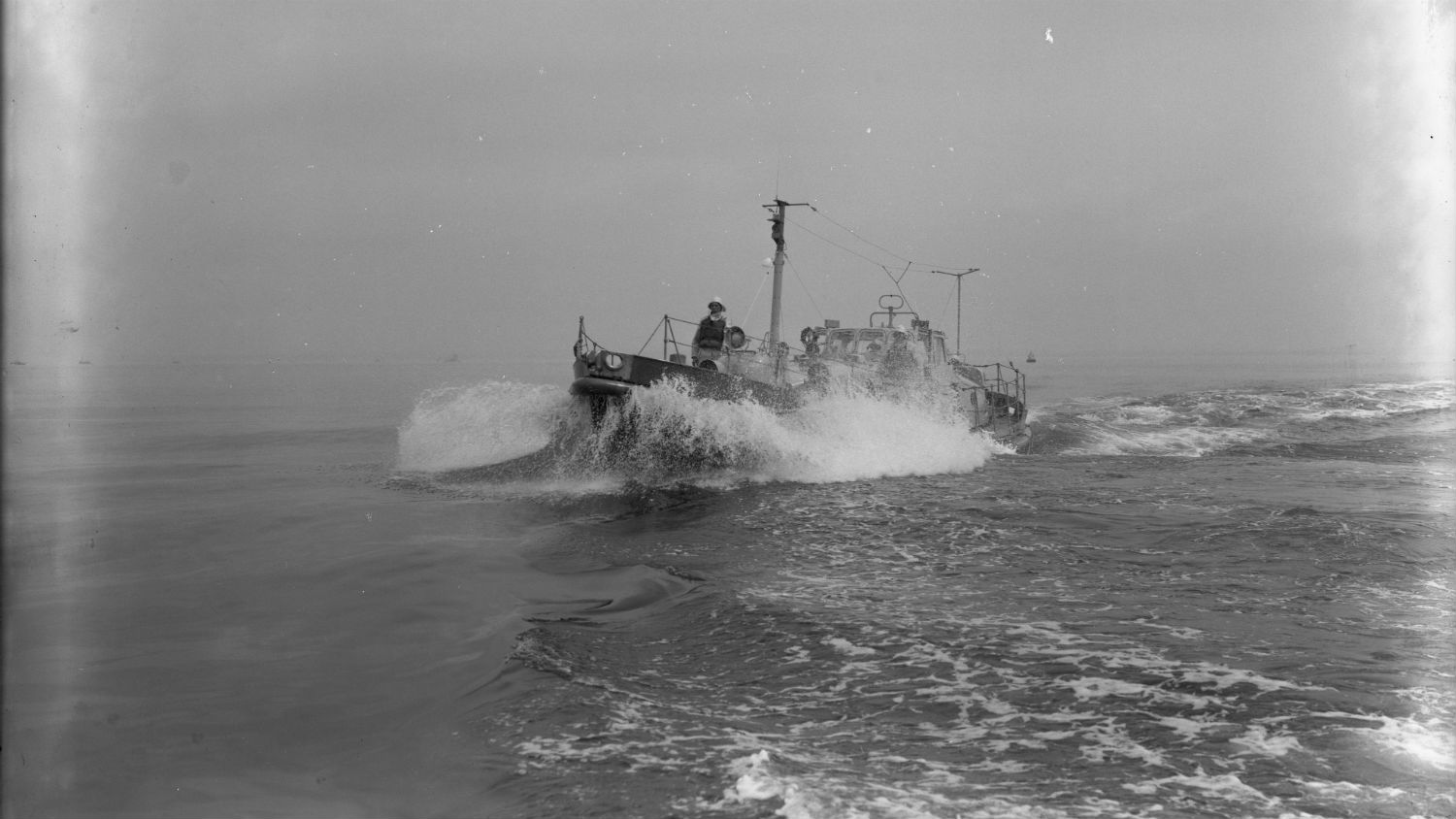 Black and white image of Lowestoft lifeboat, Frederick Edward Crick, while on trials
