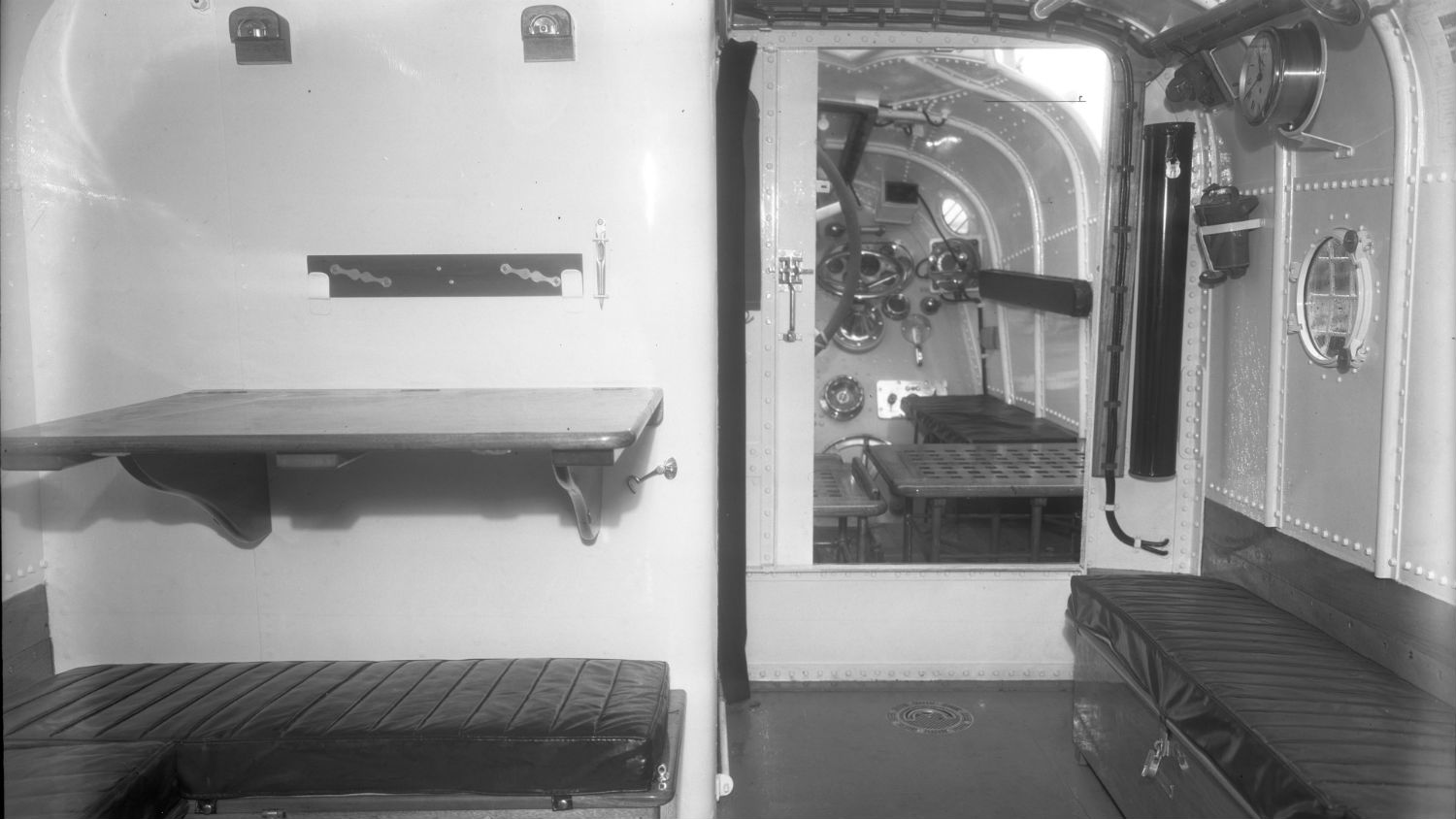 Black and white image of Margate lifeboat, North Foreland, Civil Service No.11, interior