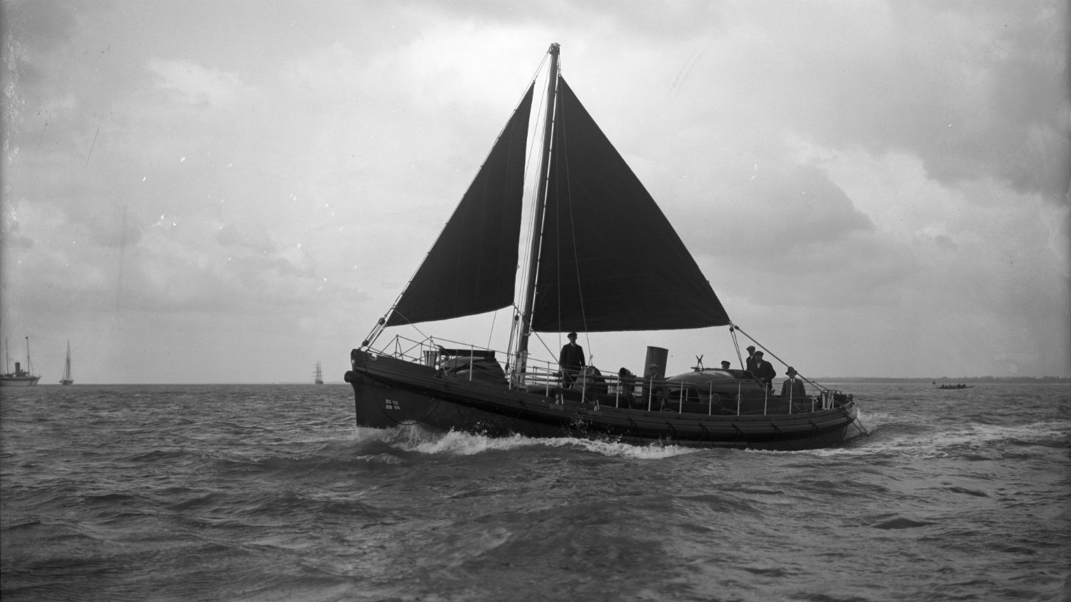 Black and white image of Newhaven lifeboat, Cecil and Lilian Philpott, while on trials