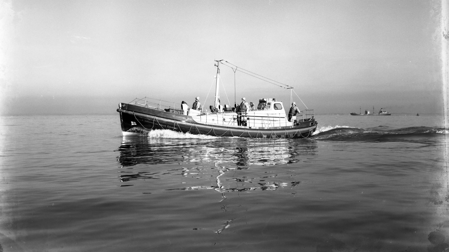 Black and white image of Shoreham lifeboat, Dorothy and Philip Constant, while on trials