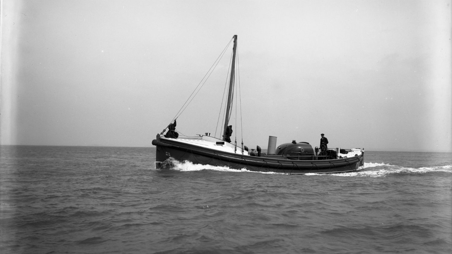 Black and white image of Southend-on-Sea lifeboat, Greater London (Civil Service No.3), while on trials