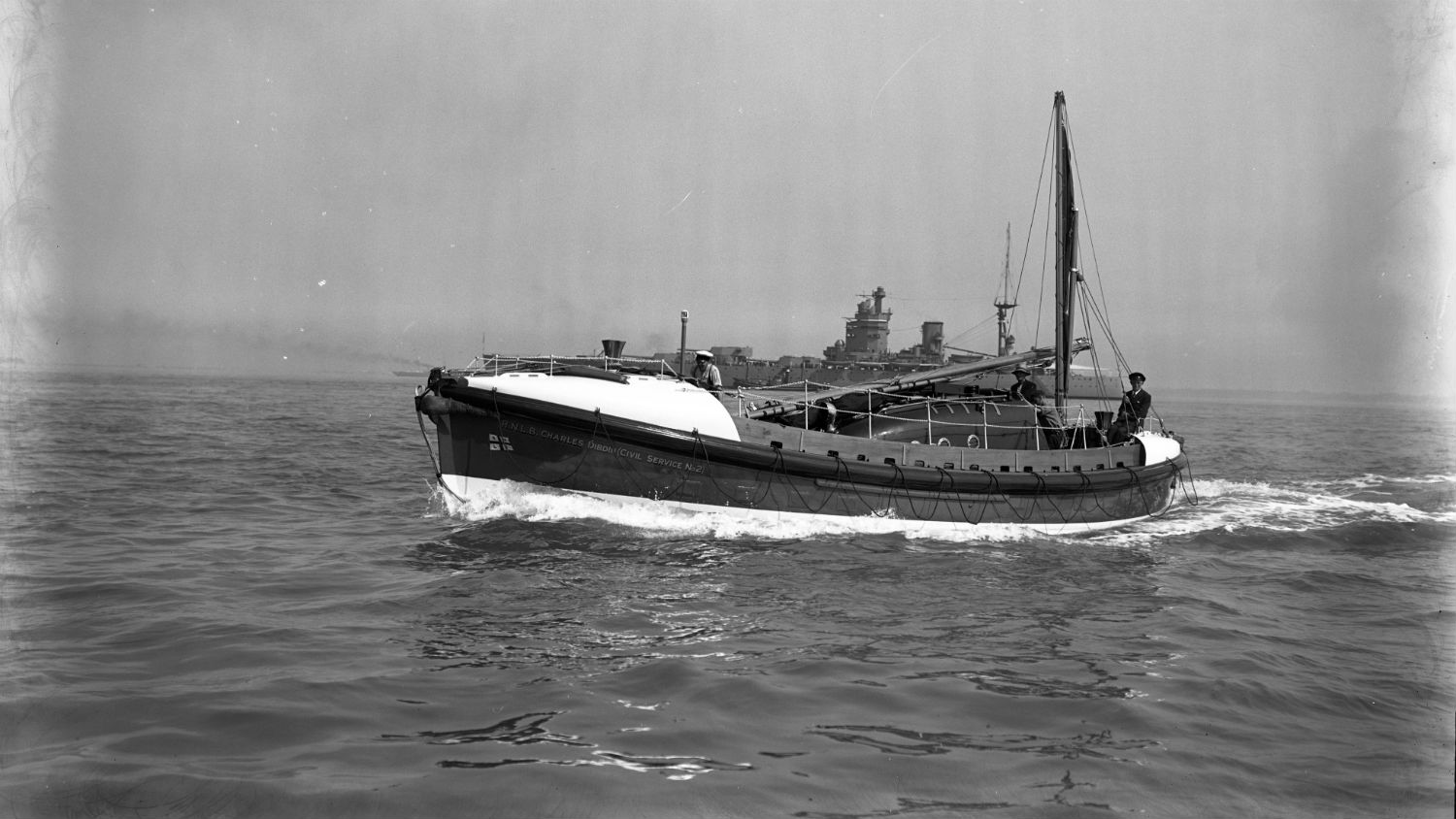 Black and white image of Walmer lifeboat, Charles Dibdin Civil Service No.2, while on trials