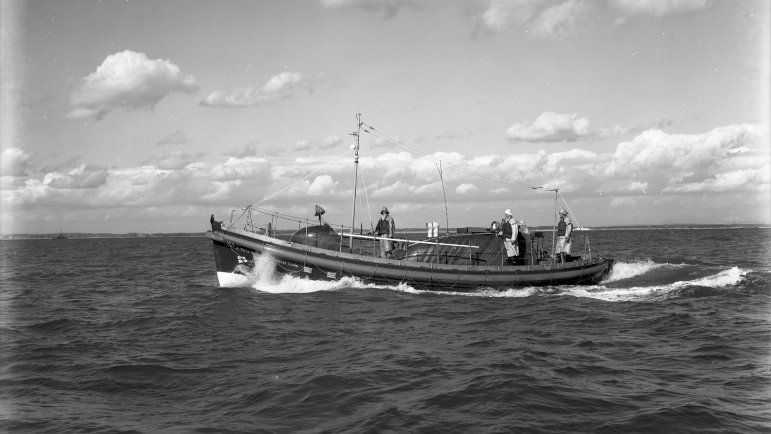 Black and white image of Reserve lifeboat (Shoreham), Rosa Wood and Phyllis Lunn, while on trials