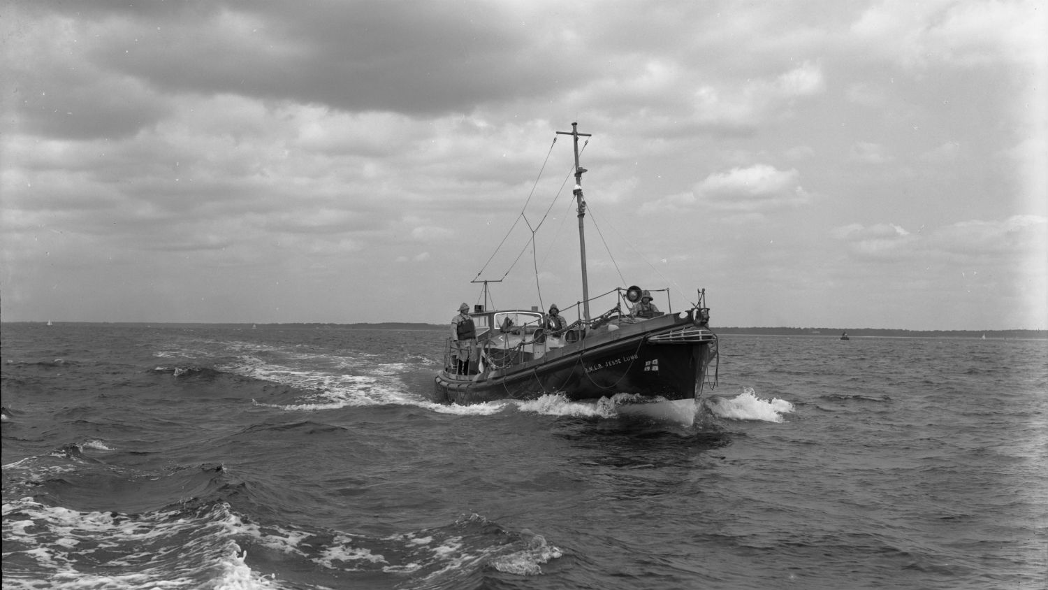 Black and white image of Bembridge lifeboat, Jesse Lumb, while on trials