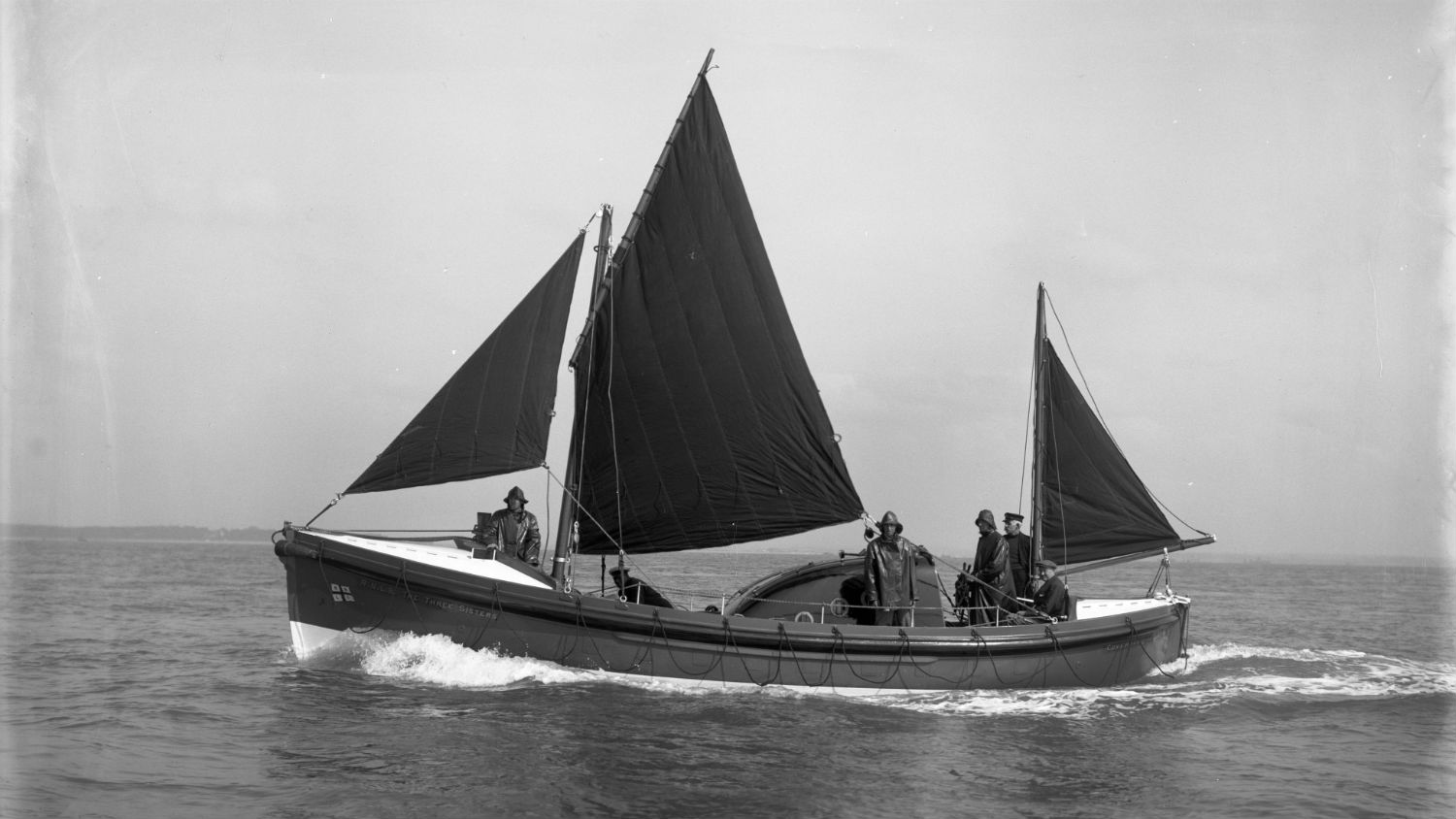 Black and white image of Coverack lifeboat, The Three Sisters, while on trials