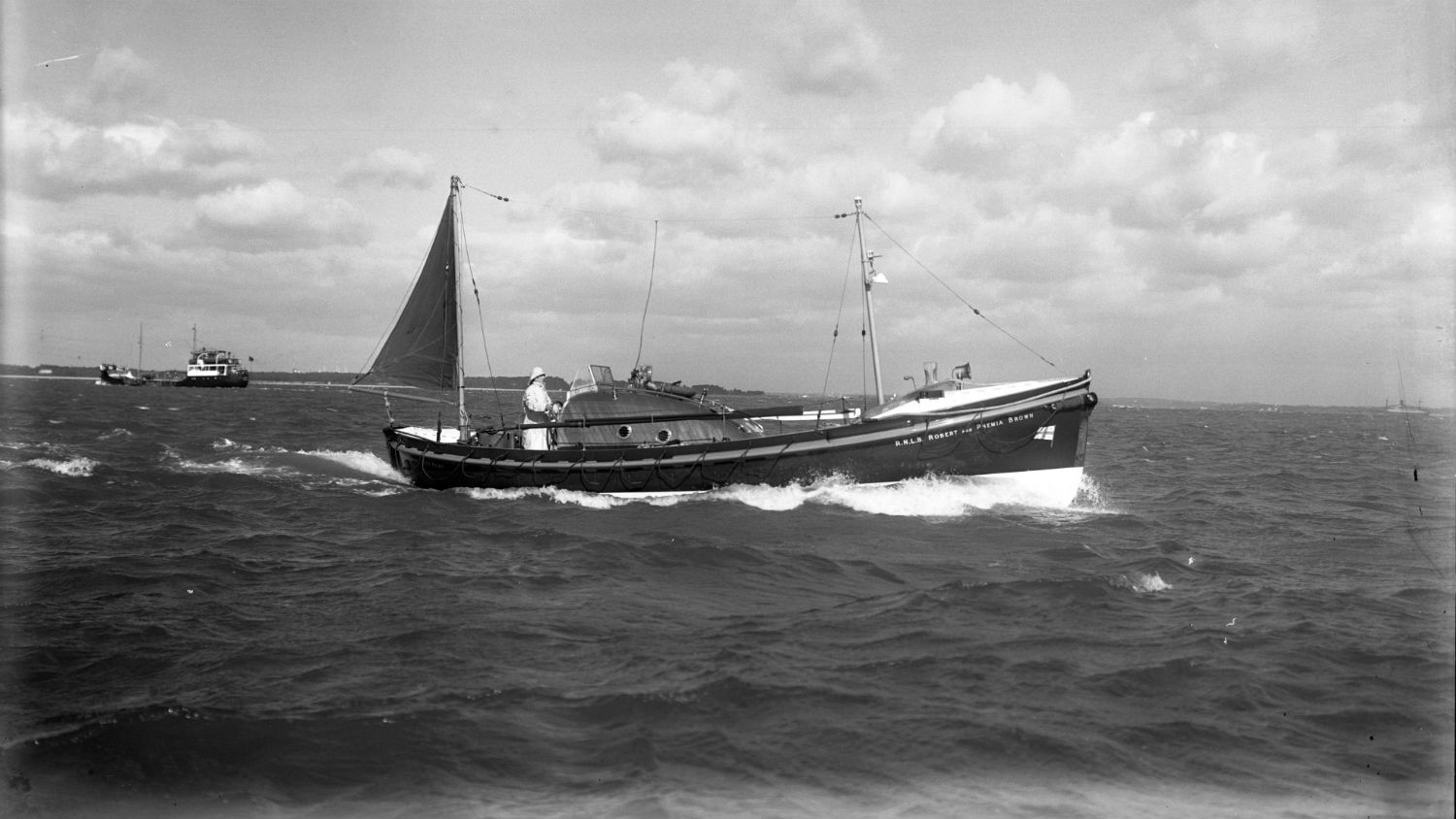 Black and white image of Ilfracombe lifeboat, Robert and Phemia Brown, while on trials