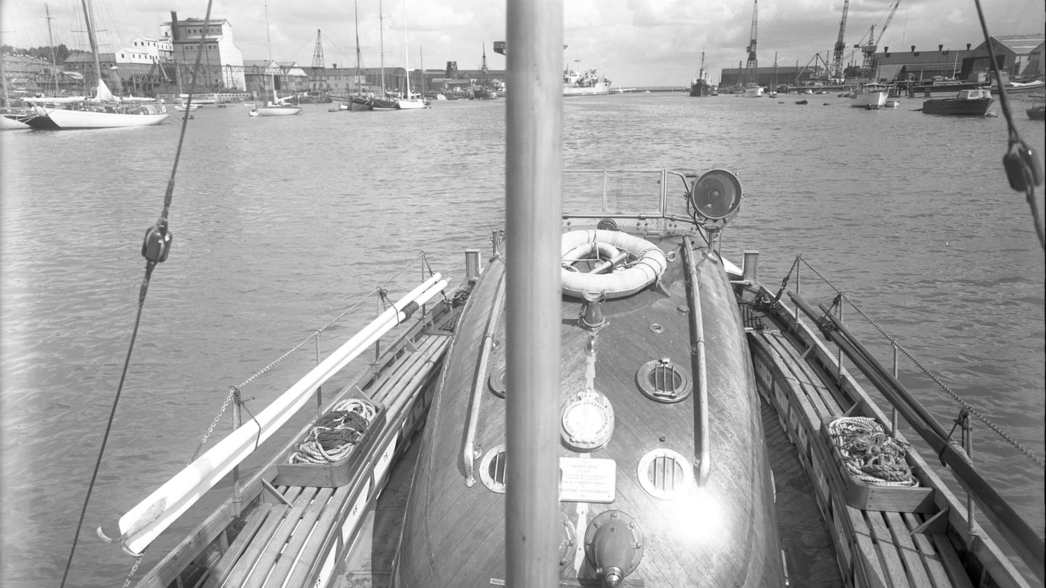 Black and white image of Padstow lifeboat, Bassett Green, while on trials