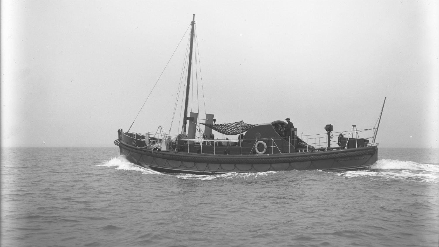 Black and white image of Plymouth lifeboat, Robert and Marcella Beck, while on trials