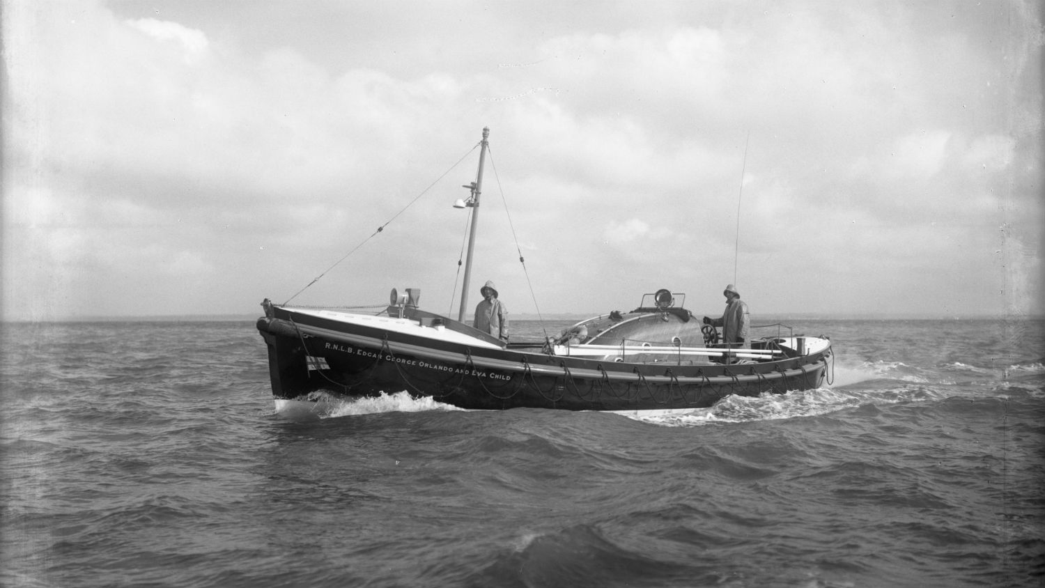 Black and white image of St Ives lifeboat, Edgar George Orlando and Eva Child, while on trials