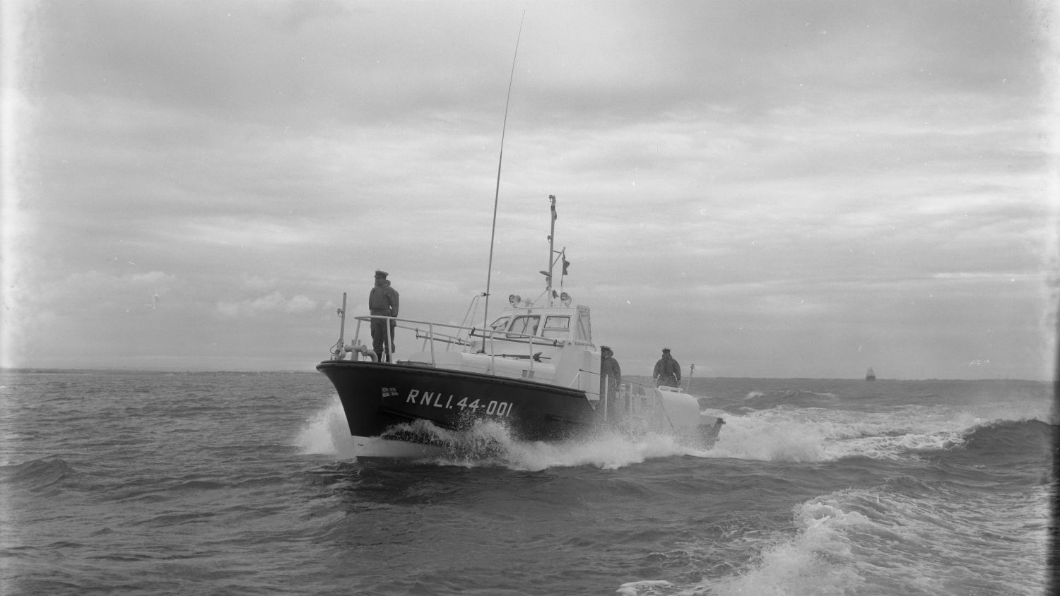 Black and white image of Reserve lifeboat (Falmouth), 44-001, while on trials