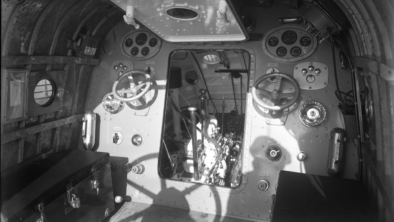 Black and white image of interior of Aberystwyth lifeboat, Frederick Angus