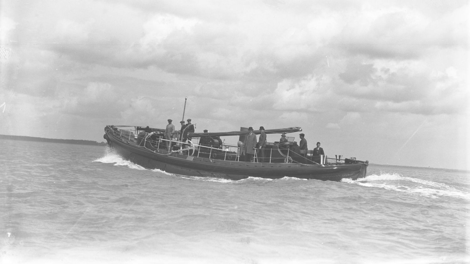 Black and white image of Holyhead lifeboat, A.E.D., while on trials