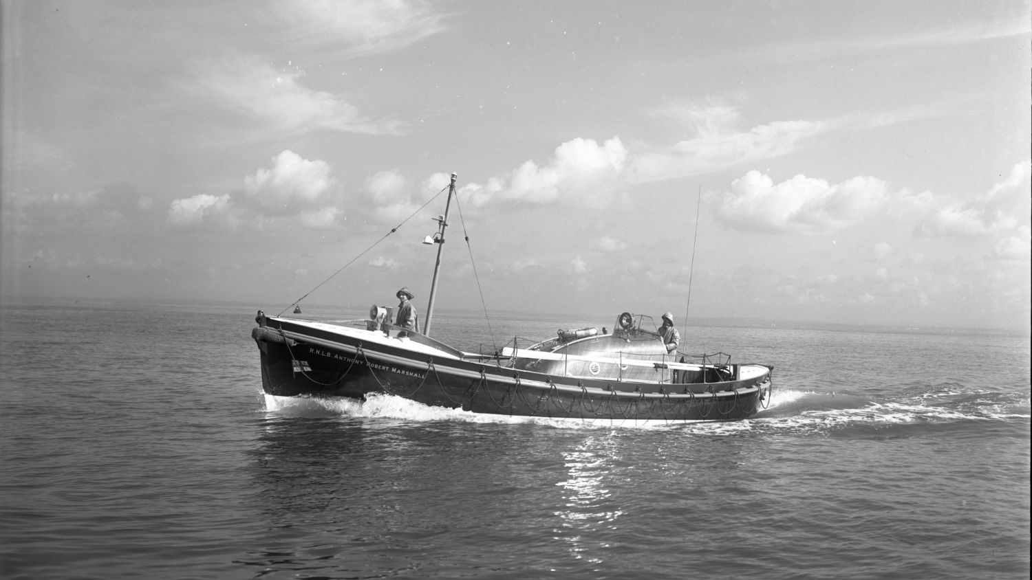 Black and white image of Rhyl lifeboat, Anthony and Robert Marshall, while on trials