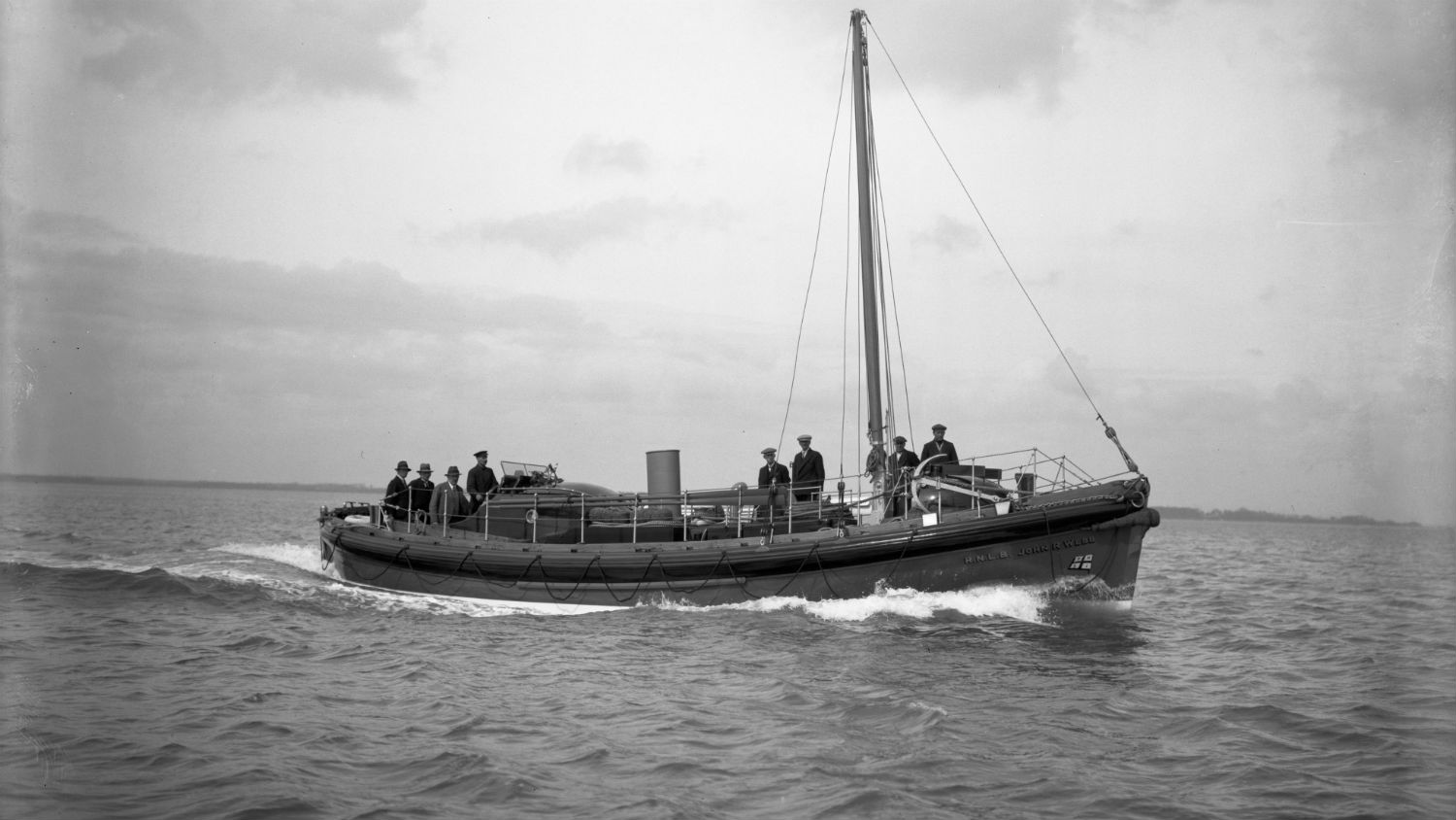 Black and white image of Tenby lifeboat, John R. Webb, while on trials