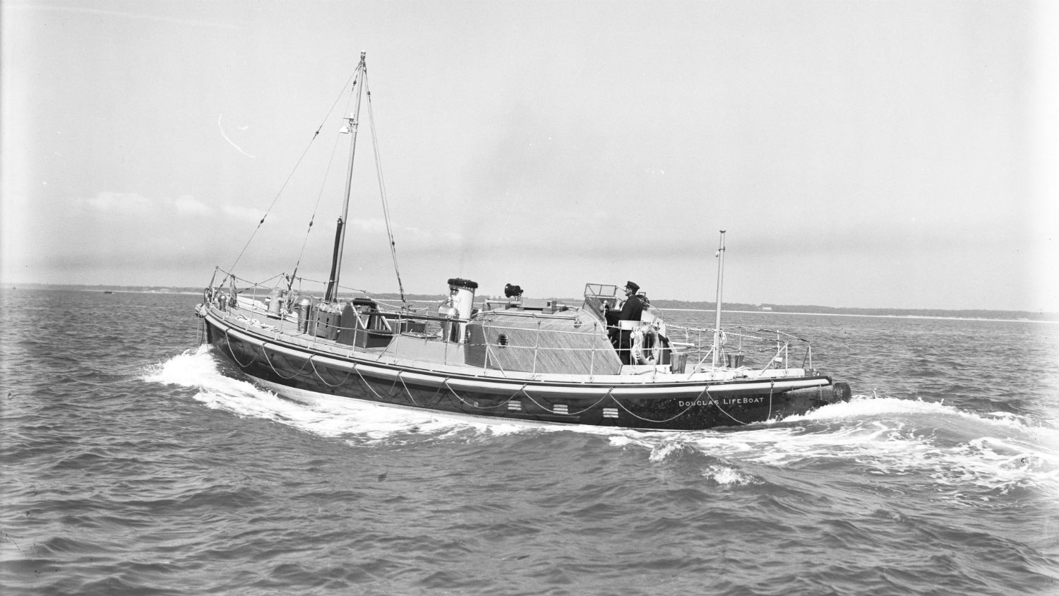 Black and white image of Douglas lifeboat, Millie Walton, while on trials