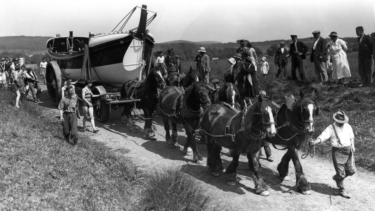 Horses pull the lifeboat at Brooke, Isle of Wight