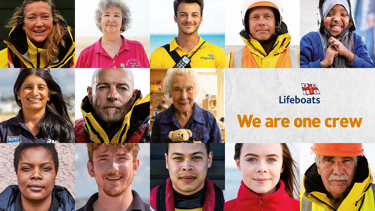 A montage of 12 RNLI people of different races, genders, ages and roles