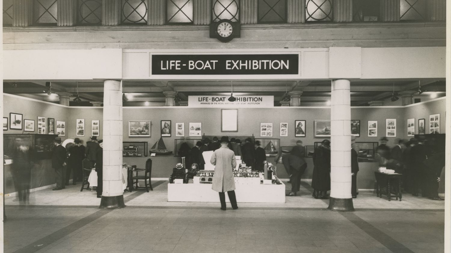 Black and white image of RNLI display in Charing Cross Underground Station