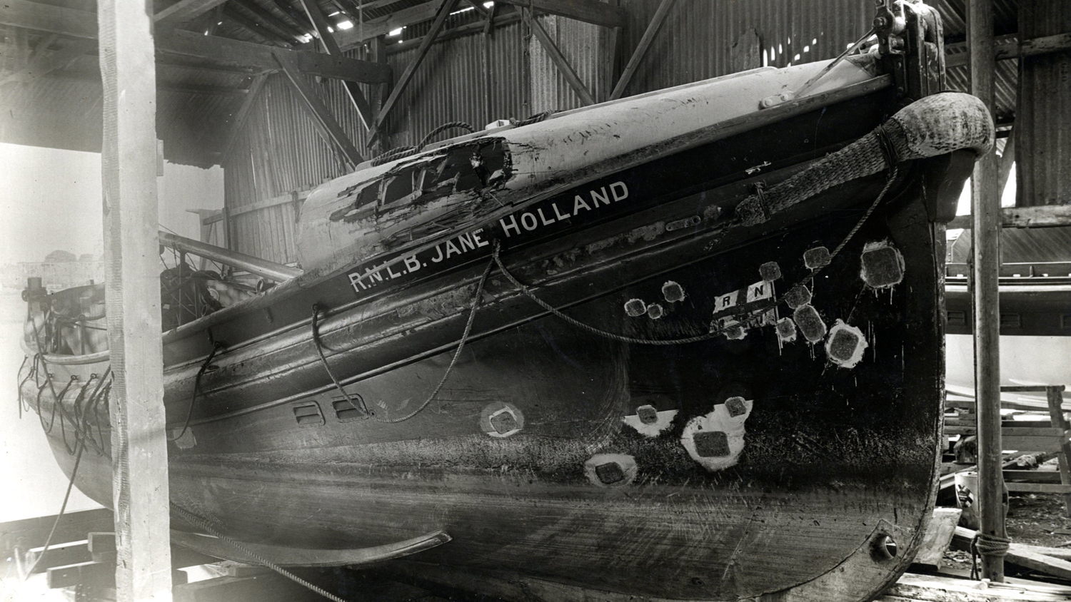 1940 war damage on Eastbourne lifeboat Jane Holland