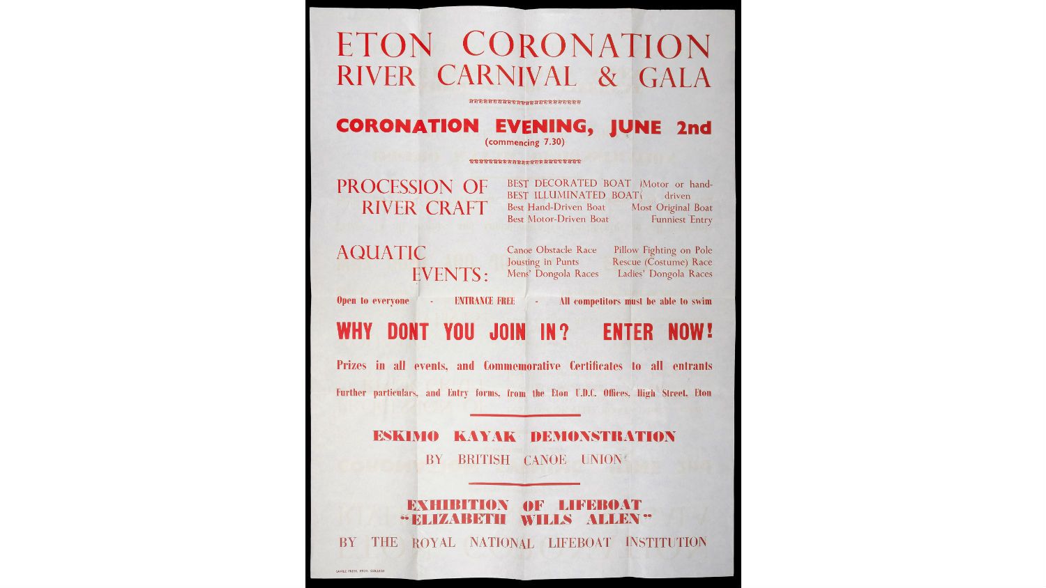 A poster advertising the Eton Coronation River Carnival and Gala