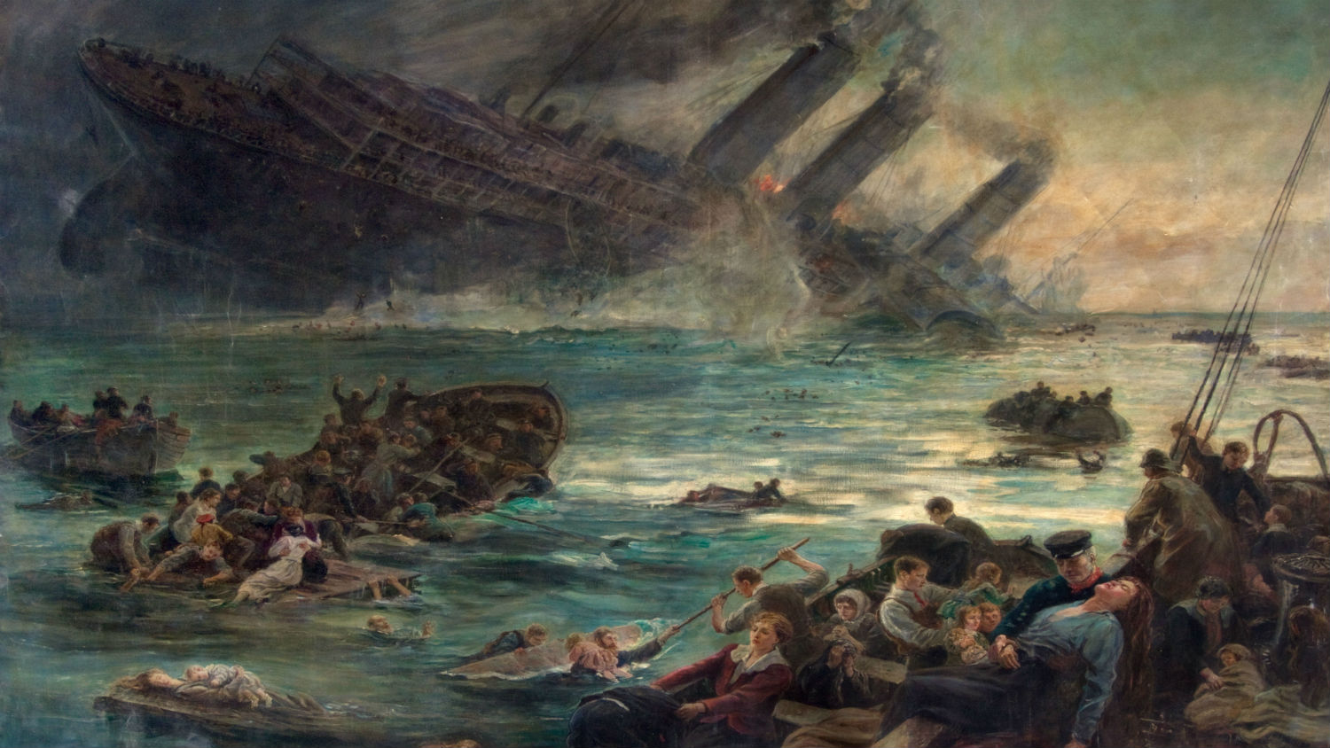 Painting entitled The Sinking of the Luisitania by Thomas Marie Madawaska Hemy