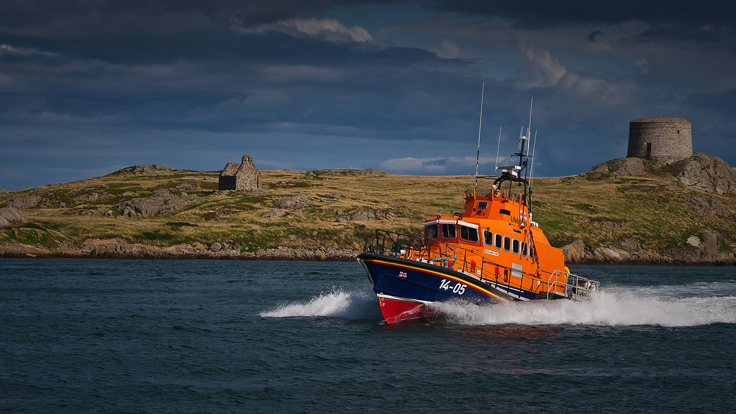 Dun Laoghaire RNLI's Trent class lifeboat, Anna Livia 14-05, at sea