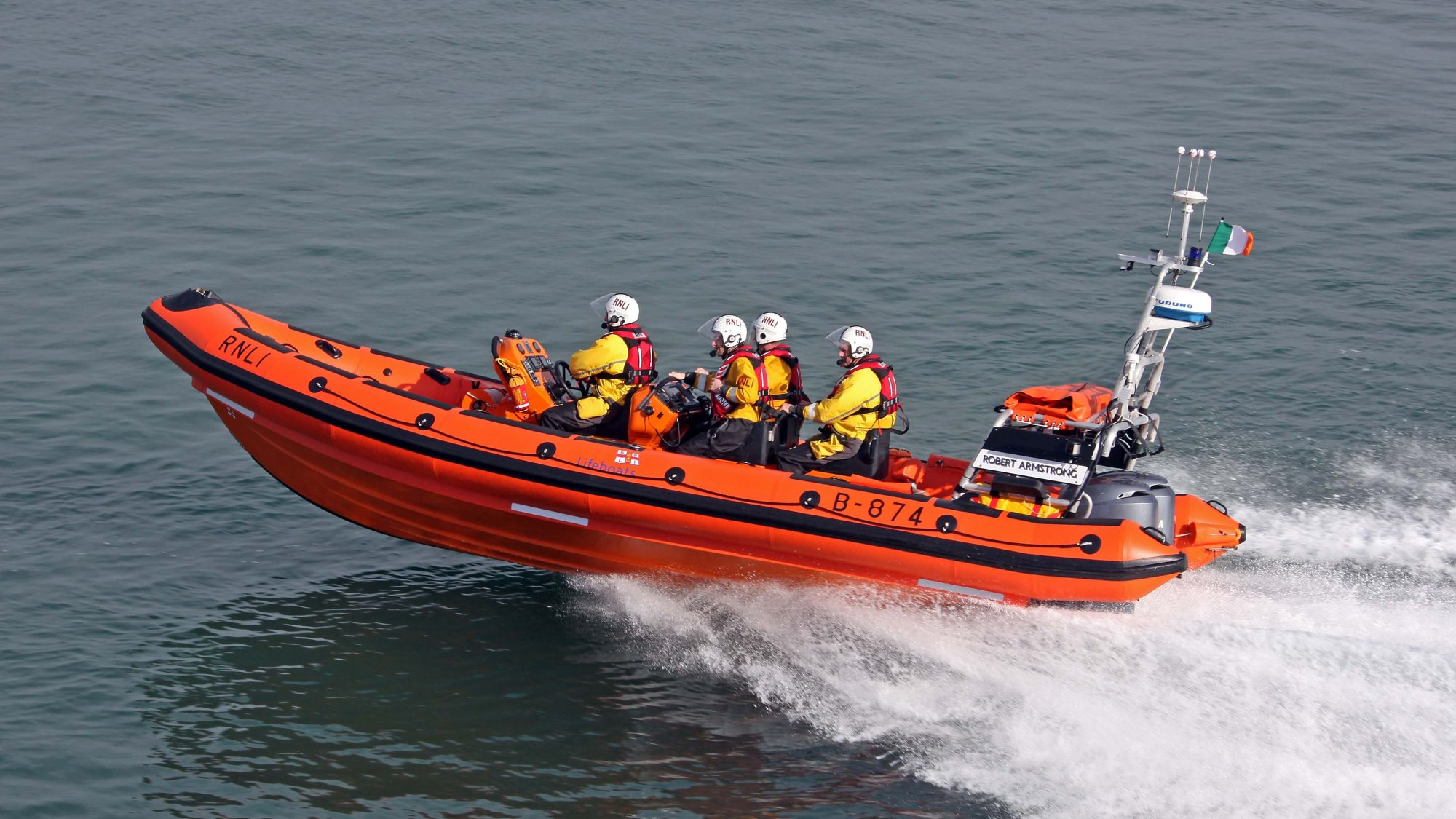 Helvick Head lifeboat volunteers at sea onboard their B class Atlantic 85 lifeboat, Robert Armstrong B-874