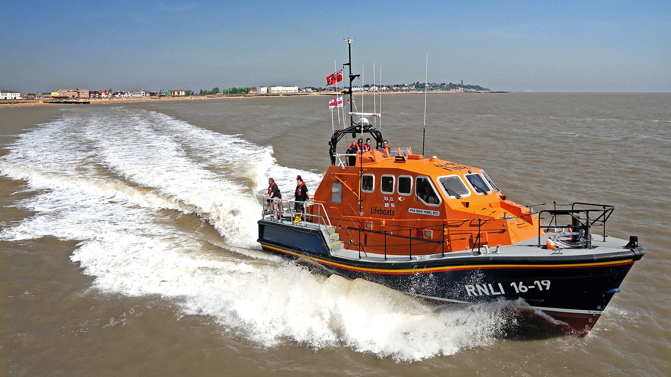 RNLI Walton and Frinton's Tamar class all-weather lifeboat, Irene Muriel Rees 16-19, at sea