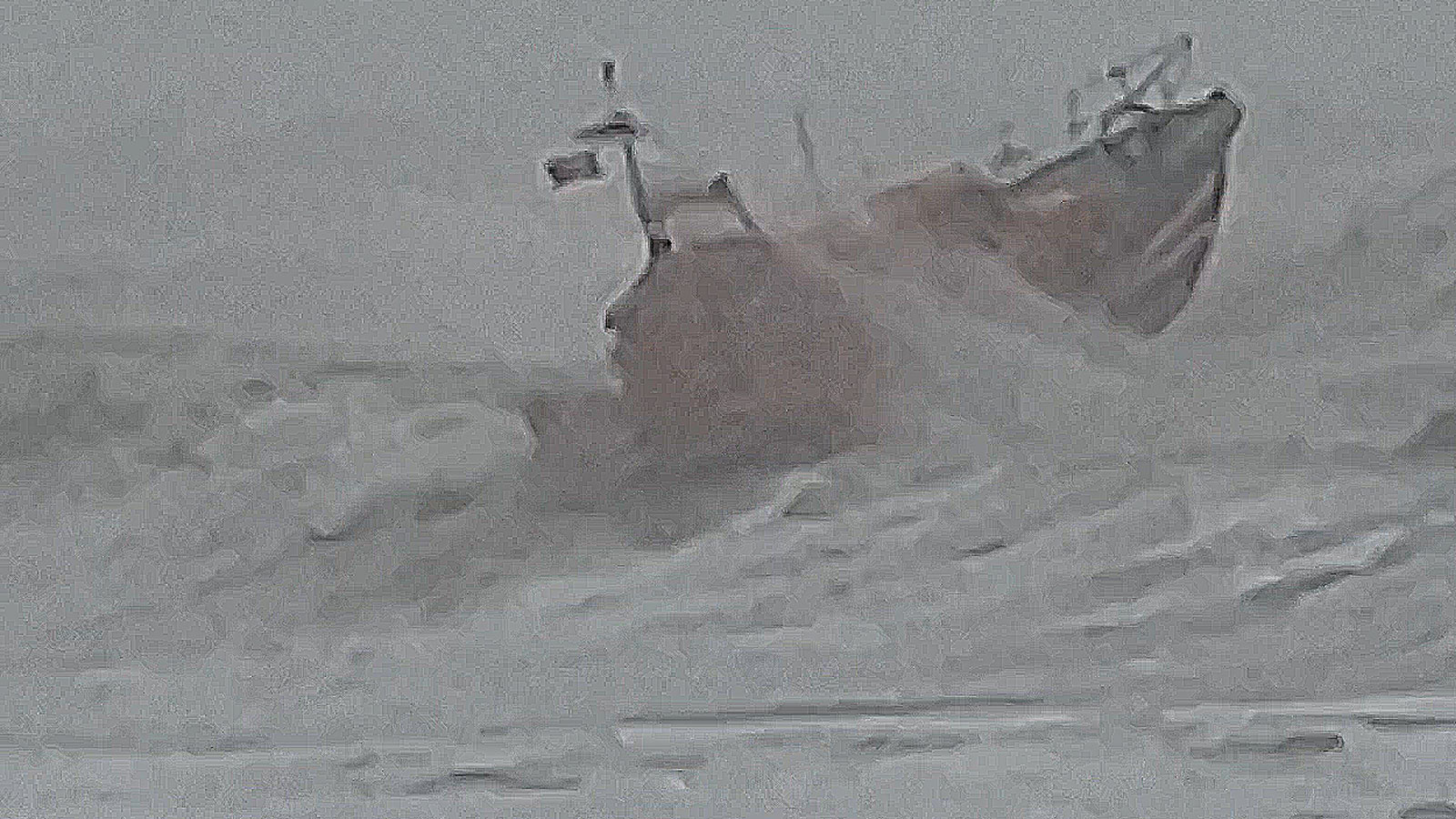 Hastings lifeboat battling the waves during Storm Ciara