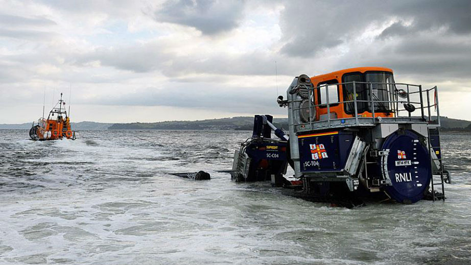 RNLI Exmouth Shannon lifeboat on a launch and recovery exercise
