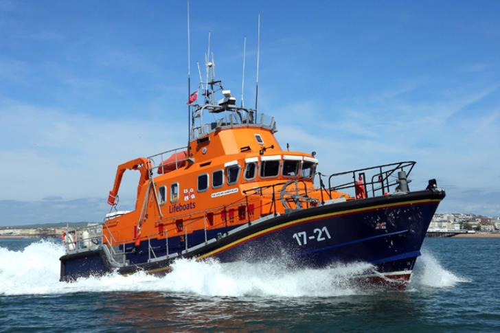 Newhaven's Severn class lifeboat, David and Elizabeth Acland, during a joint training exercise.