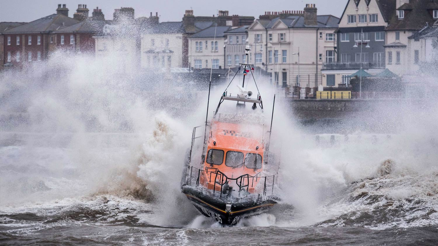 Lowestoft's Shannon lifeboat in rough weather