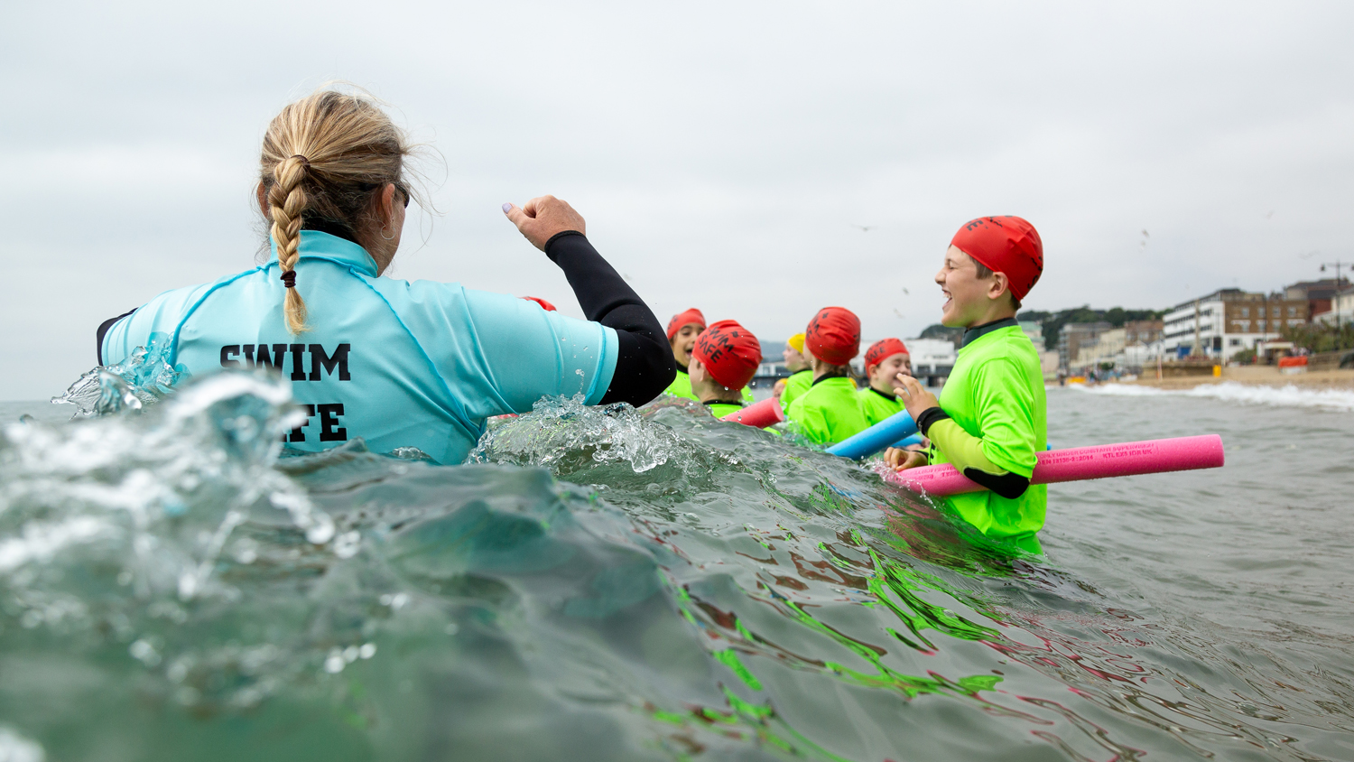 Swim Safe programme taking place at Sandown Beach on the Isle of Wight