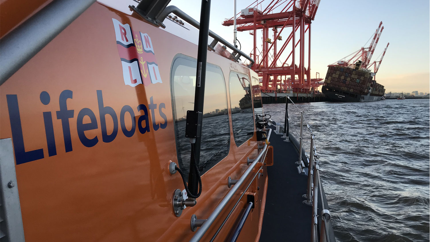 Hoylake lifeboat stands by close to listing cargo vessel