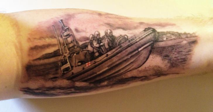 Anthony's tattoo of Silloth's B class lifeboat.