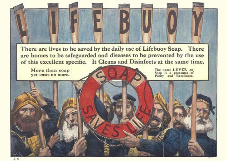 This 1900 advert for Lifebuoy soap is one of the earliest examples of such canny marketing, though it's not known if a sponsorship deal was in place.