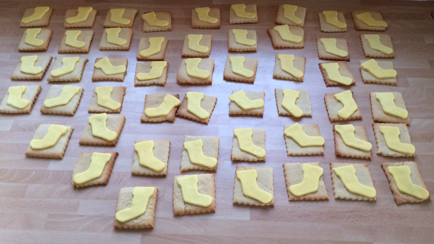 Yellow welly biscuits, made by Macy from Devon