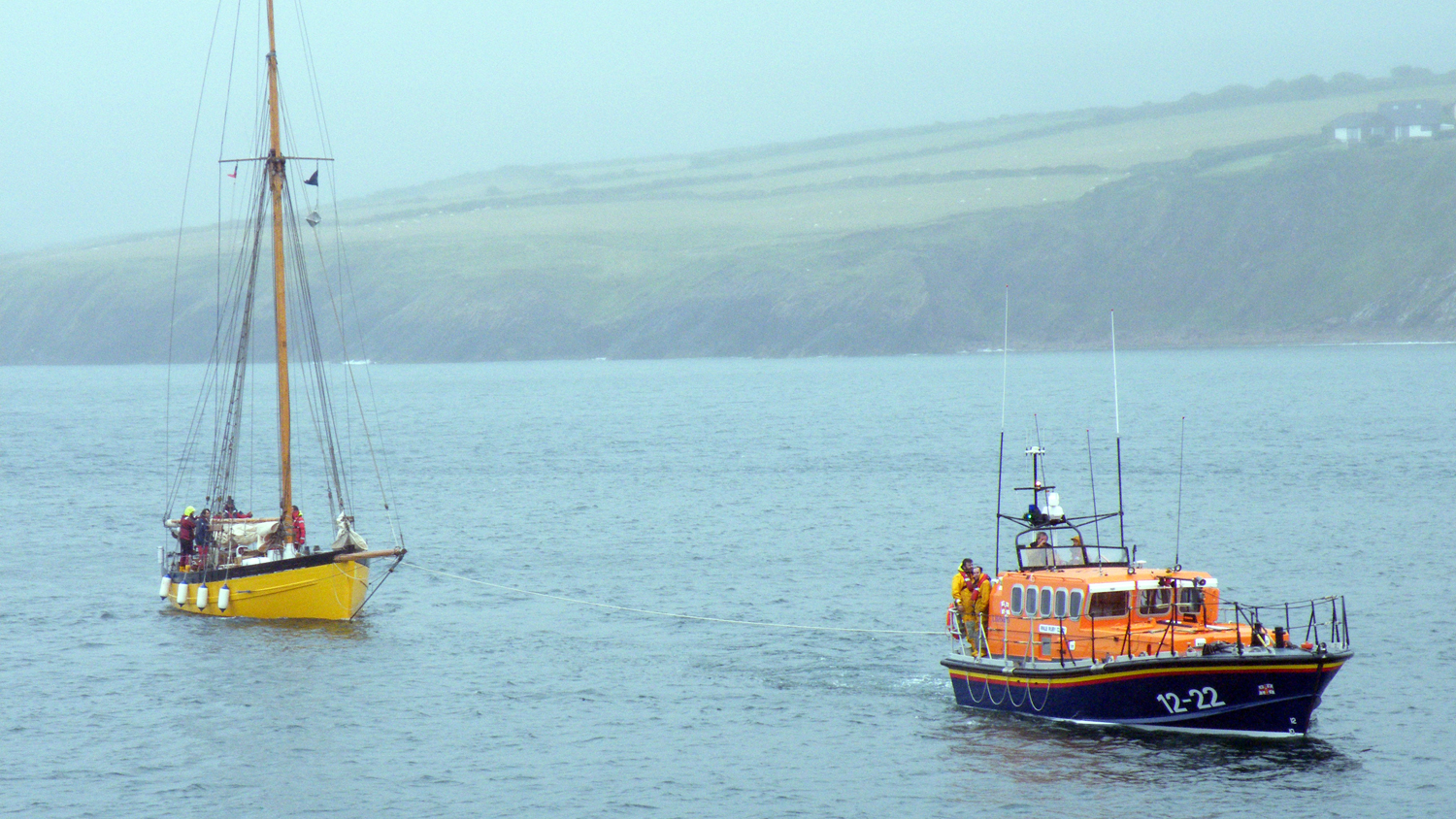 RNLI Peel's Mersey class lifeboat towing a boat