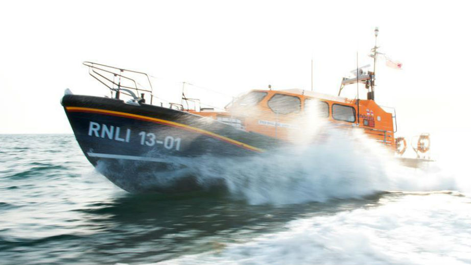 A Shannon lifeboat on a training exercise at sea