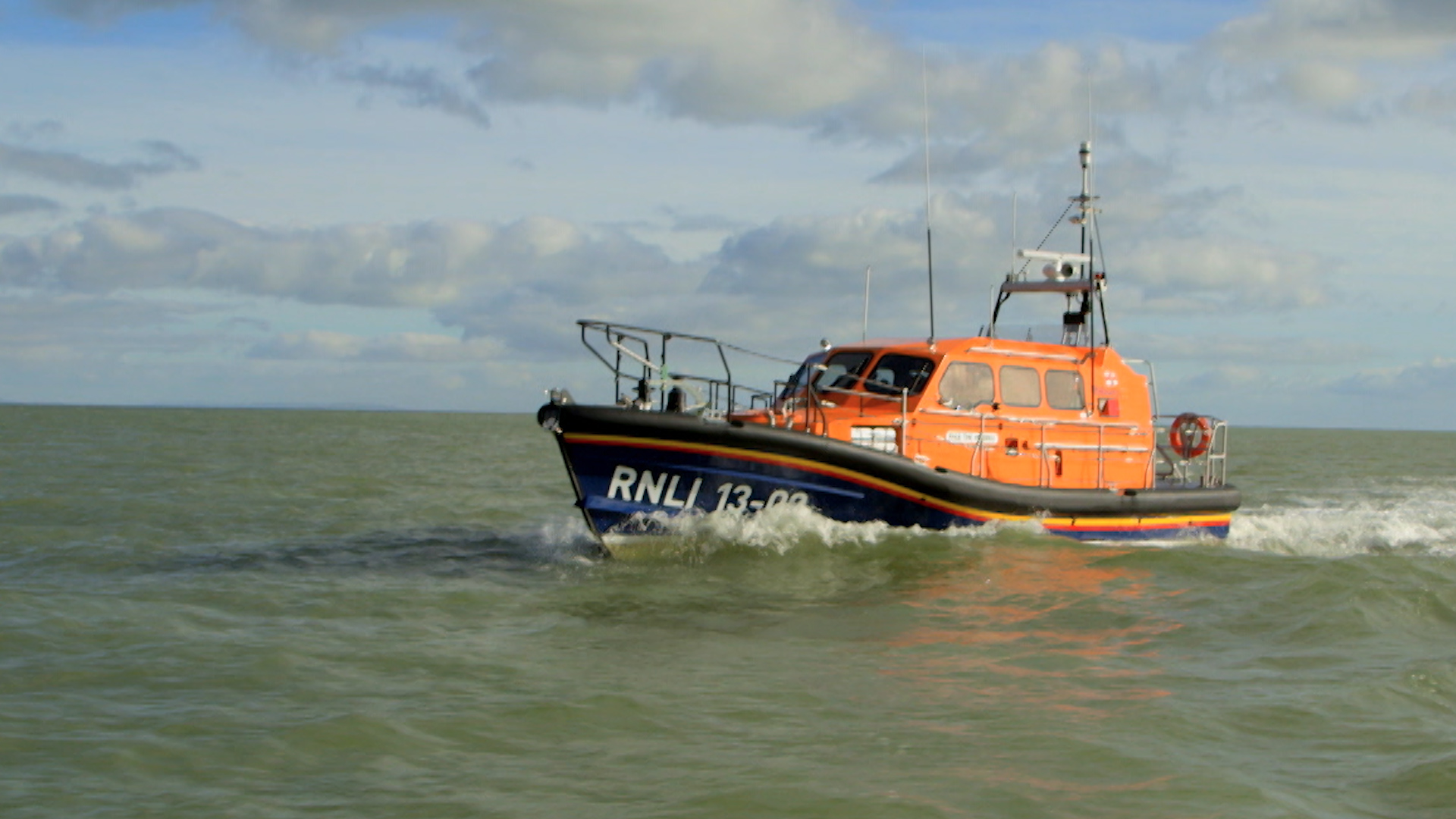 RNLI Shannon class lifeboat out on a sea trial