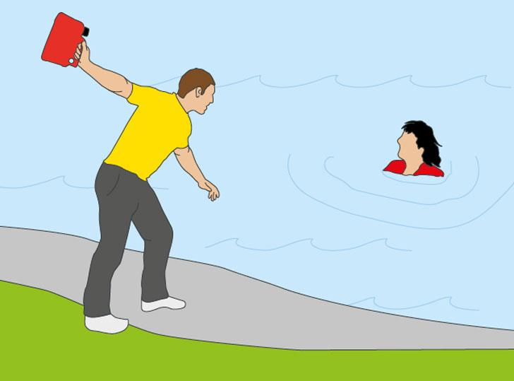 How to rescue someone from drowning, find a rescue aid