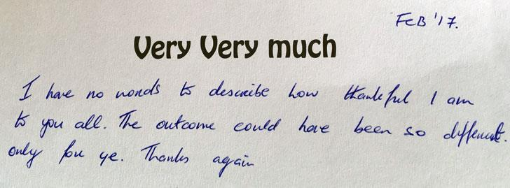 Excerpt of thank you card from kayaker rescued by Youghal RNLI