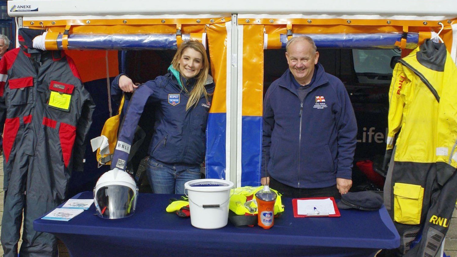 RNLI Community Safety Adviser Peter Bullick with a fellow water safety volunteer at an event
