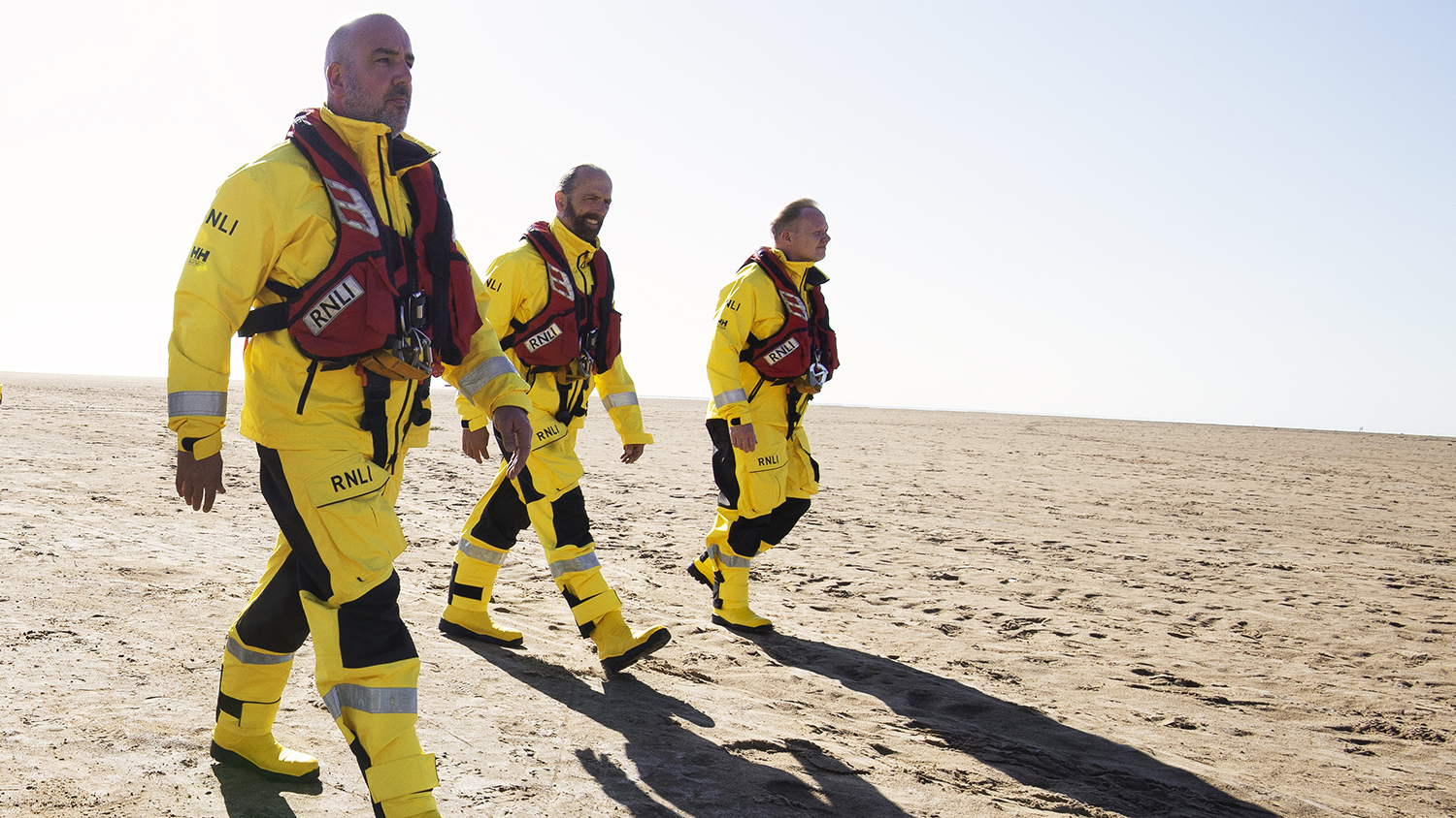 Lytham St Annes crew members Vinni Pedley, Tony Cox and Mike Gee hit the beach in their in all-weather kit.