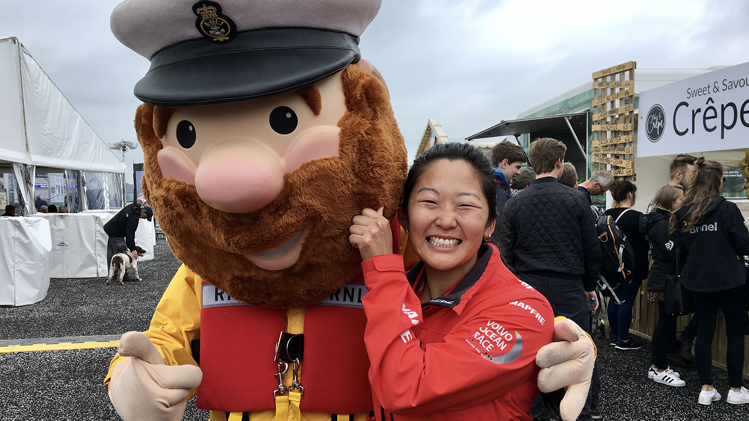 Kari Andersen from Helly Hansen, hanging out with RNLI mascot Stormy Stan