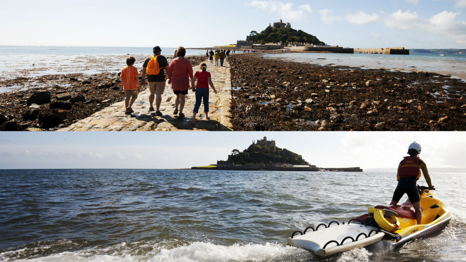 The causeway at St Michael's Mount in Cornwall which is revealed at low tide and covered as tide rises