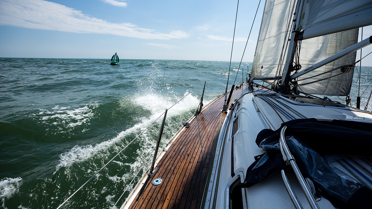 Yacht sailing: View from onboard a yacht at sea