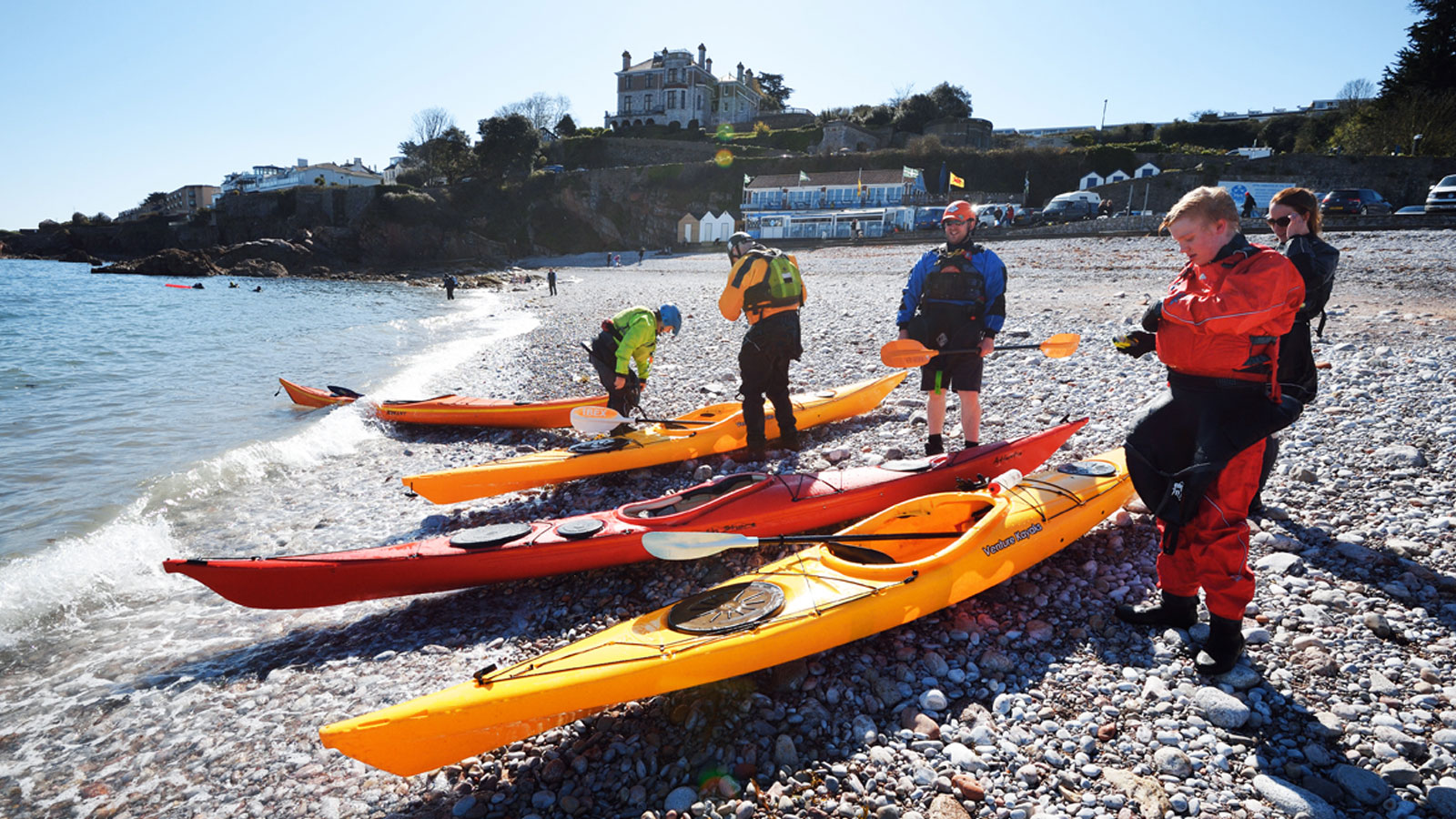 Kayaking training session on the beach