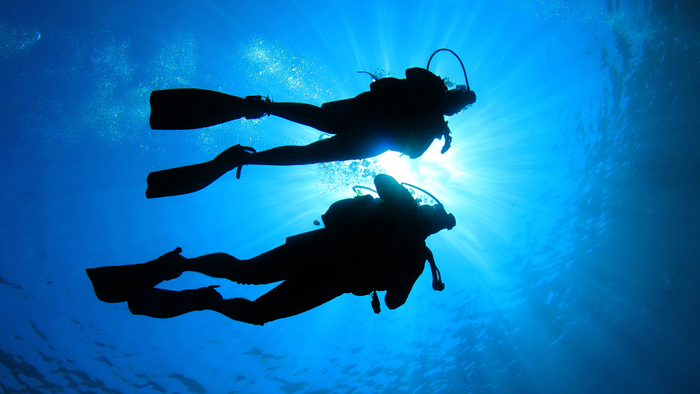 Two scuba divers just below the surface of the water and silhouetted against the sun