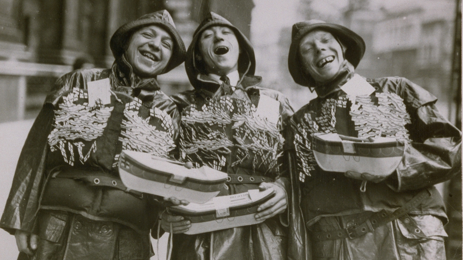 1932: Three lifeboat crew collectors on London Lifeboat Day